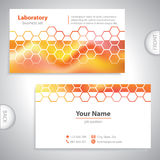 Universal orange-red laboratory business card. Royalty Free Stock Images