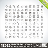 100 Universal Outline Icons volume 4. 100 Universal Outline Icons For Web and Mobile volume 4 Stock Images