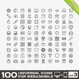 100 Universal Outline Icons volume 3. 100 Universal Outline Icons For Web and Mobile volume 3 Stock Photography