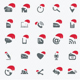 Universal Outline Icons For Web and Mobile with christmas hat Royalty Free Stock Images