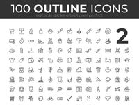 100 Universal Outline Icons For Web and Mobile. Editable Stroke. 48x48 Pixel Perfect. 100 Universal Outline Icons For Web and Mobile. Editable Stroke. 48x48 royalty free illustration