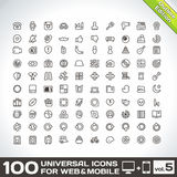 100 Universal Outline Icons For Web and Mobile volume 5. 100 Universal Icons For Web and Mobile volume 5 Outline edition stock illustration