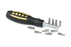 Universal screwdriver with set of bits Stock Photos