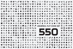 Universal set of 550 icons. 550 icons set black white universal Stock Image