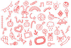 Universal set icons doodles hand drawn of love and fun,  illustration Stock Images