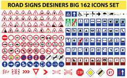 Universal set of 162 road signs. Set Royalty Free Stock Photography