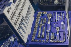 Universal set of tools for repairing cars on the store counter. Industry Stock Photography
