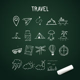Universal Set of Vector Doodle Icons, travel doodle objects on chalkboard Royalty Free Stock Photography