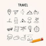 Universal Set of Vector Doodle Icons, travel hand drawn objects Stock Photography