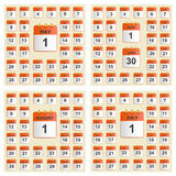 Universal set of wall calendar from May to August. Royalty Free Stock Photo