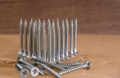 Universal silver screws with a triangle pointing upwards.  Royalty Free Stock Photography