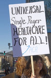 Universal Single Payer Healthcare For All Sign At ACA Rally Stock Photos