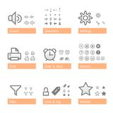 Universal software icon set. Addition part Stock Image