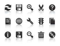 Universal software icons. Black universal software icons with reflections Royalty Free Stock Images