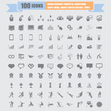 100 Universal Standard Icons vector Stock Photography