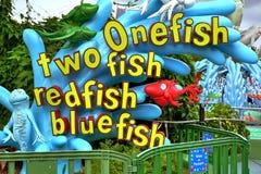 Universal studio orlando. Two one fish fish redfish blue fish at universal studio orlando Royalty Free Stock Photo