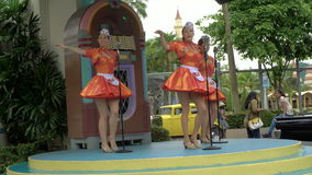Universal Studio Park, Singapore - 3 November 2016: Mels Dinettes Show with sound stock footage