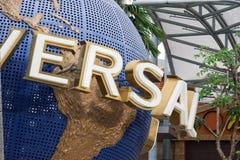 Universal Studio Singapore Entrance Rotating Globe, Singapore, March 15 2019 royalty free stock photo