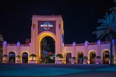 Universal Studios arch at night at Citywalk in Universal Studios area. stock images