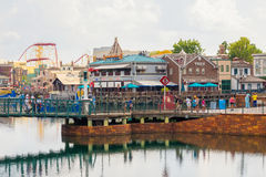 The Universal Studios Florida theme park. ORLANDO,USA - AUGUST 23, 2014 : General view of the Universal Studios Florida theme park royalty free stock image