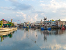 The Universal Studios Florida theme park. ORLANDO,USA - AUGUST 23, 2014 : General view of the Universal Studios Florida theme park royalty free stock photography