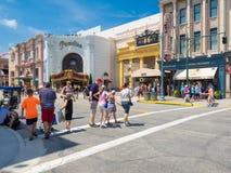 The Universal Studios Florida theme park. ORLANDO,USA - AUGUST 23, 2014 : Visitors near the Revenge of the Mummy ride at Universal Studios Florida theme park stock photography