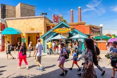 Universal Studios Hollywood Park, Los Angeles, USA. LOS ANGELES, USA - SEP 27, 2015: Hot dog House at The SImpsons area of the Universal Studios Hollywood Park Stock Photo