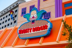Universal Studios Hollywood Park, Los Angeles, USA. LOS ANGELES, USA - SEP 27, 2015: Krusty Burger restaurant at The SImpsons area of the Universal Studios Stock Photo