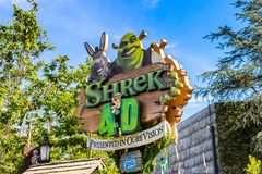 Universal Studios Hollywood Park, Los Angeles, USA. LOS ANGELES, USA - SEP 27, 2015: Shrek area in the Universal Studios Hollywood Park. Shrek is a 2001 animated Stock Photo