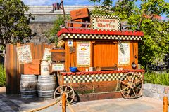 Universal Studios Hollywood Park, Los Angeles, USA. LOS ANGELES, USA - SEP 27, 2015: Donkey waffles wagon in Shrek area in the Universal Studios Hollywood Park Stock Photos