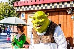 Universal Studios Hollywood Park, Los Angeles, USA. LOS ANGELES, USA - SEP 27, 2015: Fiona and Shrek in Shrek area in the Universal Studios Hollywood Park. Shrek Stock Photos