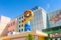 Universal Studios Hollywood Park, Los Angeles, USA. LOS ANGELES, USA - SEP 27, 2015: Lard Lad donuts at The SImpsons area of the Universal Studios Hollywood Park Stock Photo