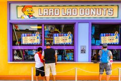 Universal Studios Hollywood Park, Los Angeles, USA. LOS ANGELES, USA - SEP 27, 2015: Lard Lad donuts at The SImpsons area of the Universal Studios Hollywood Park Royalty Free Stock Photos
