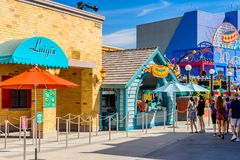 Universal Studios Hollywood Park, Los Angeles, USA. LOS ANGELES, USA - SEP 27, 2015:  Luigi Pizza at The SImpsons area of the Universal Studios Hollywood Park Royalty Free Stock Photography