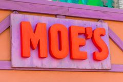 Universal Studios Hollywood Park, Los Angeles, USA. LOS ANGELES, USA - SEP 27, 2015: Moe's Bar at The SImpsons area of the Universal Studios Hollywood Park. The Royalty Free Stock Image