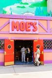 Universal Studios Hollywood Park, Los Angeles, USA. LOS ANGELES, USA - SEP 27, 2015: Moe's Bar at The SImpsons area of the Universal Studios Hollywood Park. The Royalty Free Stock Photography