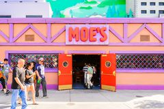 Universal Studios Hollywood Park, Los Angeles, USA. LOS ANGELES, USA - SEP 27, 2015: Moe's Bar at The SImpsons area of the Universal Studios Hollywood Park. The Stock Photos