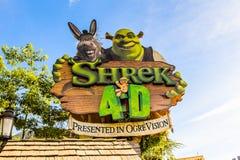 Universal Studios Hollywood Park, Los Angeles, USA. LOS ANGELES, USA - SEP 27, 2015: Shrek area in the Universal Studios Hollywood Park. Shrek is a 2001 animated Royalty Free Stock Image