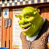 Universal Studios Hollywood Park, Los Angeles, USA. LOS ANGELES, USA - SEP 27, 2015: Shrek in  the Shrek area in the Universal Studios Hollywood Park. Shrek is a Royalty Free Stock Photo
