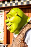 Universal Studios Hollywood Park, Los Angeles, USA. LOS ANGELES, USA - SEP 27, 2015: Shrek in  the Shrek area in the Universal Studios Hollywood Park. Shrek is a Stock Images