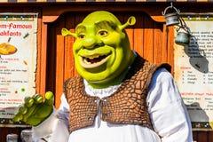 Universal Studios Hollywood Park, Los Angeles, USA. LOS ANGELES, USA - SEP 27, 2015: Shrek in  the Shrek area in the Universal Studios Hollywood Park. Shrek is a Stock Image