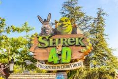 Universal Studios Hollywood Park, Los Angeles, USA. LOS ANGELES, USA - SEP 27, 2015: Shrek area in the Universal Studios Hollywood Park. Shrek is a 2001 animated Royalty Free Stock Photo