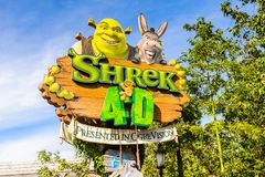 Universal Studios Hollywood Park, Los Angeles, USA. LOS ANGELES, USA - SEP 27, 2015: Shrek 4D area in the Universal Studios Hollywood Park. Shrek is a 2001 Royalty Free Stock Photography