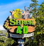Universal Studios Hollywood Park, Los Angeles, USA. LOS ANGELES, USA - SEP 27, 2015: Shrek 4D area in the Universal Studios Hollywood Park. Shrek is a 2001 Stock Image