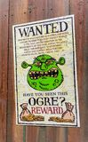 Universal Studios Hollywood Park, Los Angeles, USA. LOS ANGELES, USA - SEP 27, 2015: Wnted ogre in Shrek area in the Universal Studios Hollywood Park. Shrek is a Royalty Free Stock Photography