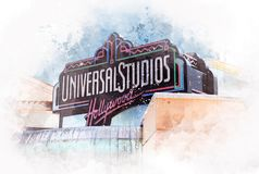 Universal Studios entrance, Hollywood, Los Angeles - USA. Universal Studios Hollywood and theme park in the San Fernando Valley area of Los Angeles County Royalty Free Stock Images