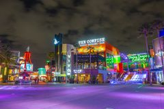 Universal Studios at night in Universal Orlando, FL, USA. CityWalk at night at Universal Studios Park in Orlando, Florida, USA royalty free stock image