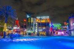 Universal Studios at night in Universal Orlando, FL, USA. CityWalk at night at Universal Studios Park in Orlando, Florida, USA royalty free stock photo