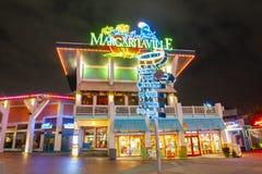 Universal Studios at night in Universal Orlando, FL, USA. CityWalk Margaritaville at night at Universal Studios Park in Orlando, Florida, USA royalty free stock images