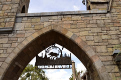 Universal Studios Resort Welcome to Hogsmeade village. Universal Studios Resort, Orlando, Florida, USA - October 24, 2016: The Wizarding World of Harry Potter Stock Image